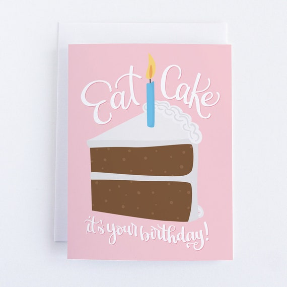 Funny Birthday Card For Girlfriend Best Friend Greeting Sister BFF Eat Cake