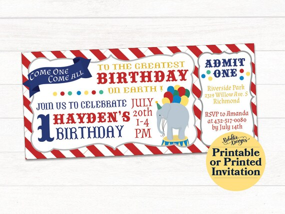 Circus Ticket Birthday Invitation Carnival Printable Party Invite First