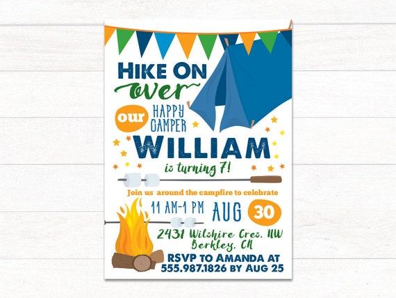 Camping Birthday Invitation Printable Campfire Party Invite