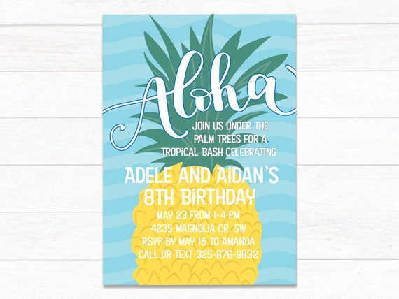 graphic regarding Printable Luau Invitations known as Printable Luau Birthday Invites, Pineapple Luau Birthday Invitation, Moana Birthday, Luau Invitation, Hawaiian Get together Invites