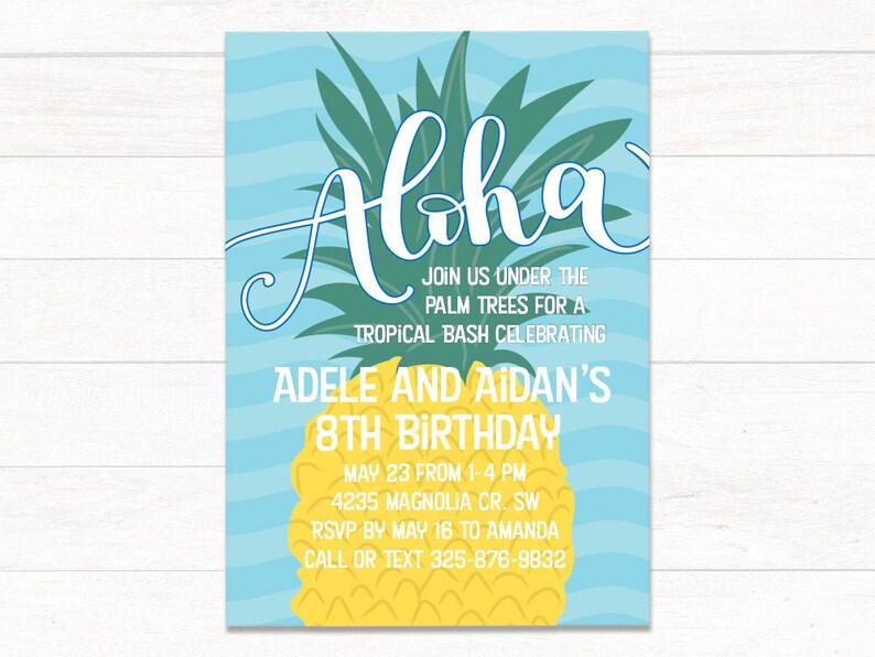 Printable Luau Birthday Invitations Pineapple