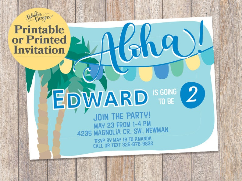 Printable Luau Invitations Hawaiian Birthday Invitation