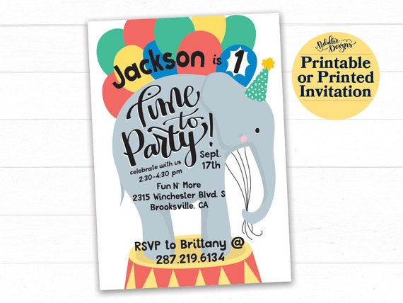 Circus 1st Birthday Invitation First Carnival Invite Elephant