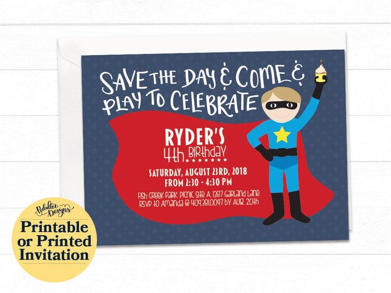 Boy Superhero Birthday Invitation Printable Party