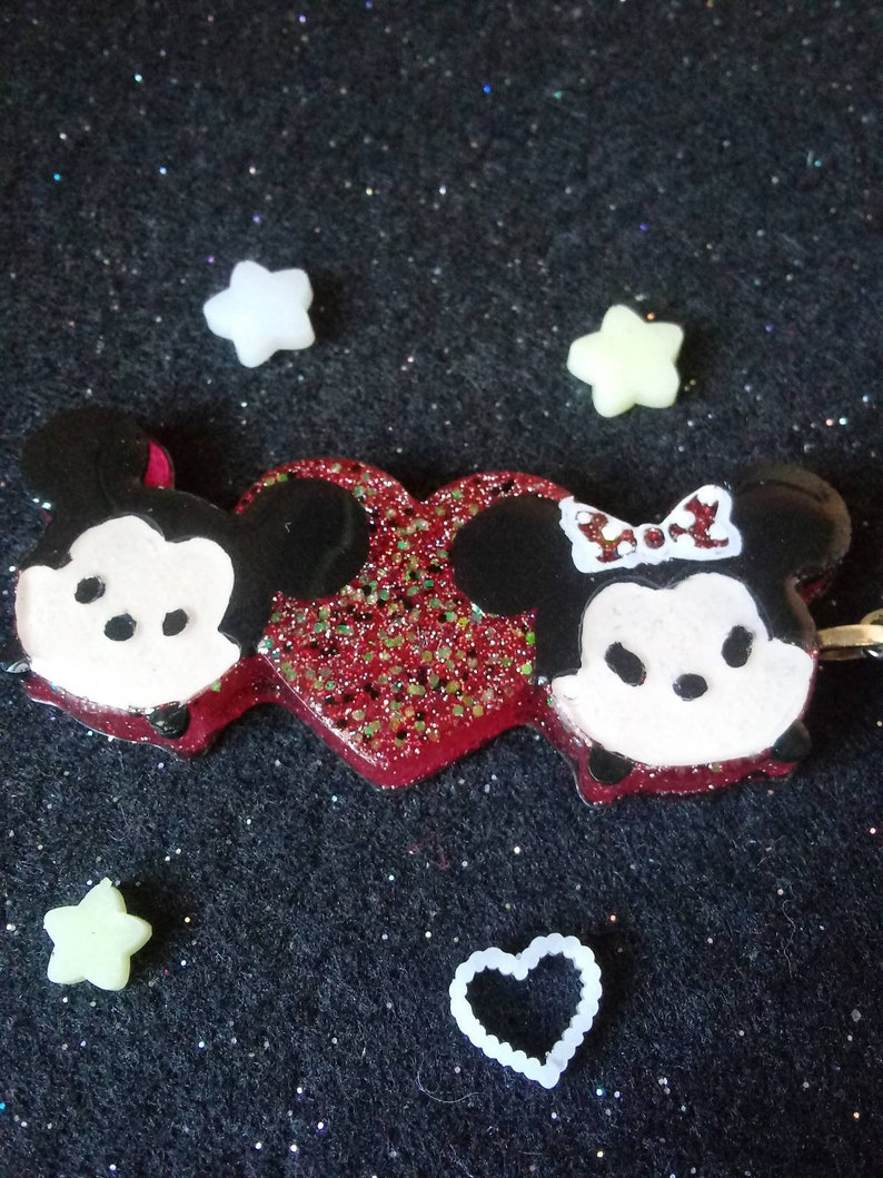 Disney Inspired resin charm Mickey /& Minnie Love Keychain Cluster
