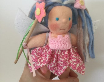Five inches Waldorf doll, Little Fairy, made of natural materials