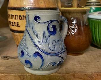 French Country Mustard Blue Grey Stoneware Pot, Moutarde Julien Mack Dijon