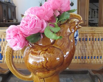 French Country Farmhouse Rooster Pitcher, Vase,  French Faience Country Cottage Chicken