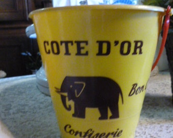 Vintage French Toy, Sand Bucket, or Pail, Advertising French Chocolate