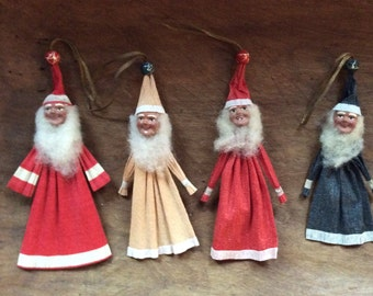 Vintage European Santa Claus Christmas Holiday Ornaments