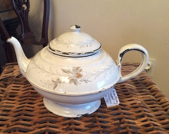French Country Antique Graniteware Enamelware Teapot Floral