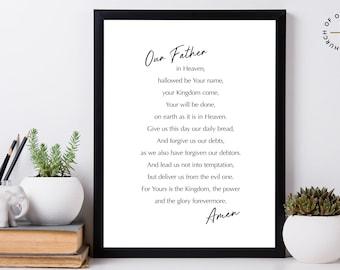 The Lord's Prayer -  Wall Art - Printable Artwork - Bible Verse Art - Minimal Poster - Graduation Gift
