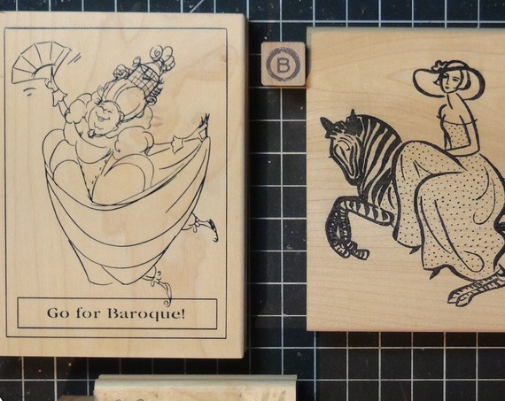 Rubber Stamps - YOU CHOOSE - wood mounted lot D1/P2 - women wine people theme