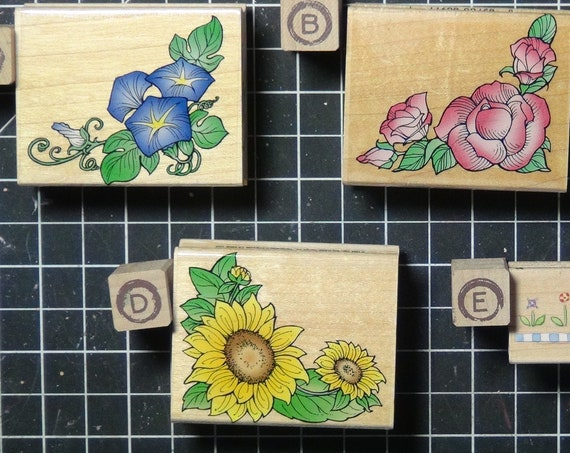 Rubber Stamps - YOU CHOOSE - wood mounted lot N3 - floral, nature and garden theme