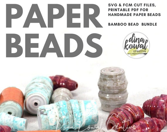 Paper Bead Cut File Template - svg fcm pdf - Bamboo Bead 3 sizes