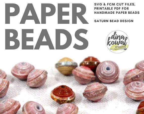 Paper Bead Cut File Template - svg fcm pdf - Saturn bead 8x10mm