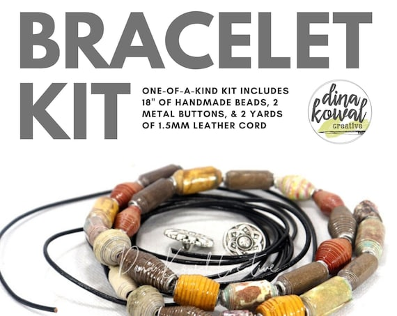 Boho Bracelet Kit - handmade beads - leather cord - button clasp - no tools needed!