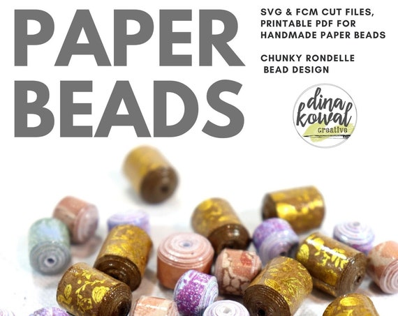 Paper Bead Cut File Template - svg fcm pdf - Chunky Rondelle 5 sizes