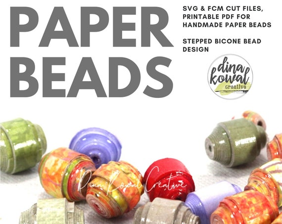 Paper Bead Cut File Template - svg fcm pdf - Stepped Bicone Bead 3 sizes