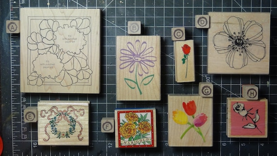 Rubber Stamps - YOU CHOOSE - wood mounted lot B1 - floral flower theme
