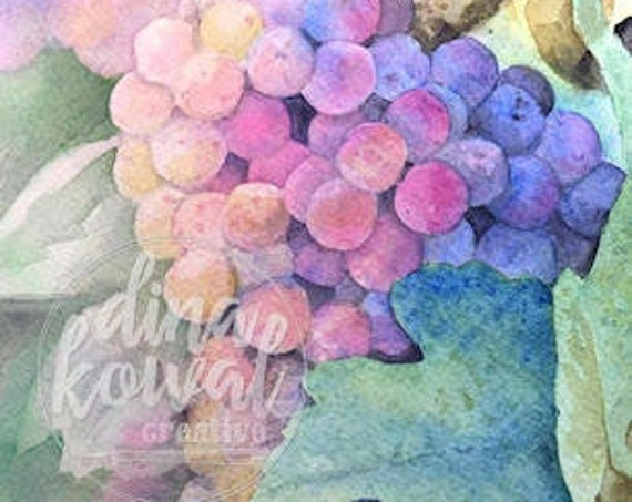 Notecards (set of 3) - Vineyard Glow - wine grapes