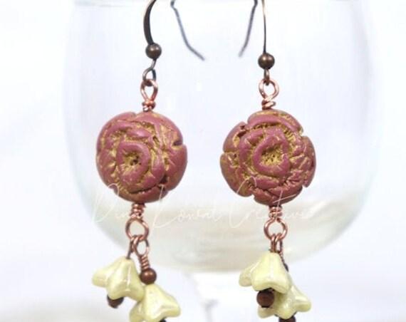 Polymer Clay Bead Earrings - Rose Ivory Drop