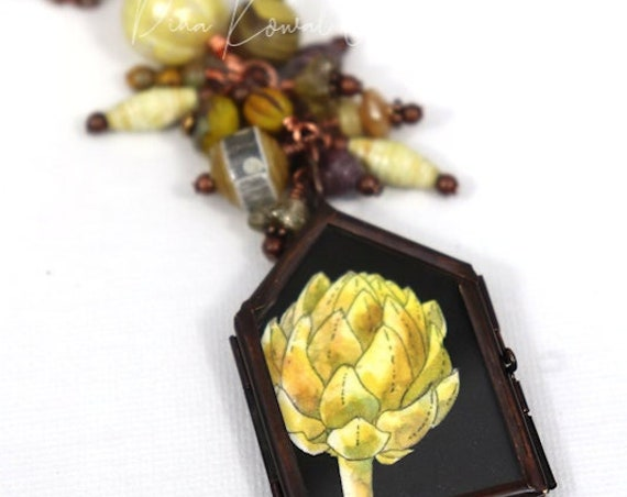 Artichoke Frame Necklace - mixed media art necklace with handmade beads