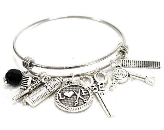 Charm Bangle Bracelet - Hair Dresser or Stylist