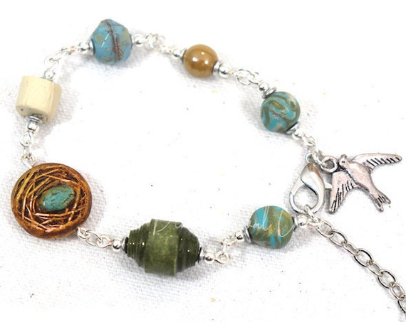 Spring Nest  bracelet - nest bead with Czech glass and handmade polymer clay and paper beads