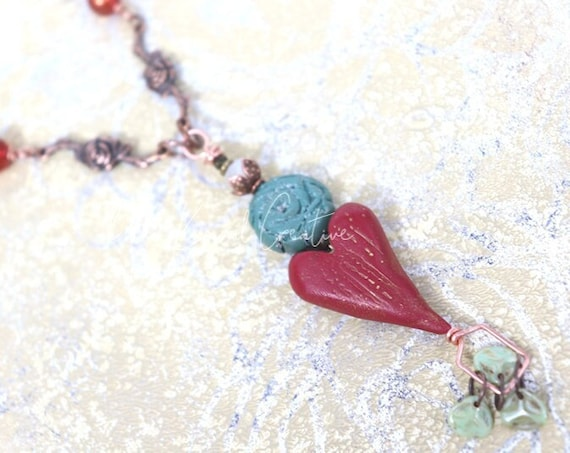 Rustic Rose Heart Necklace - mixed metals, handmade polymer clay beads