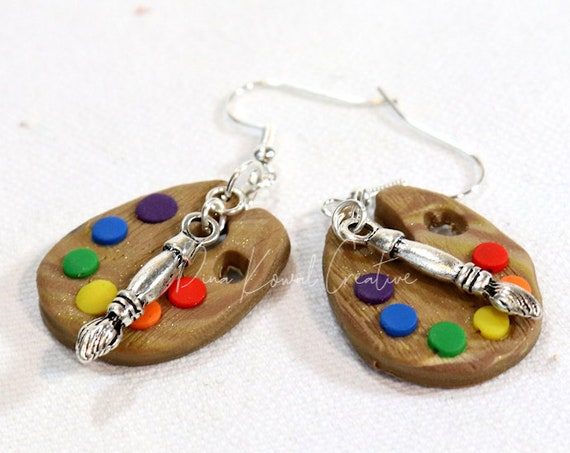 Polymer Clay Art Painter's Palette Artist Charm Novelty Earrings