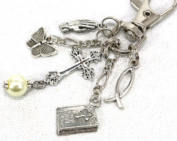 Prayer Christian Bible Fish Purse Charm Zipper Pull Zipper Pull Keychain