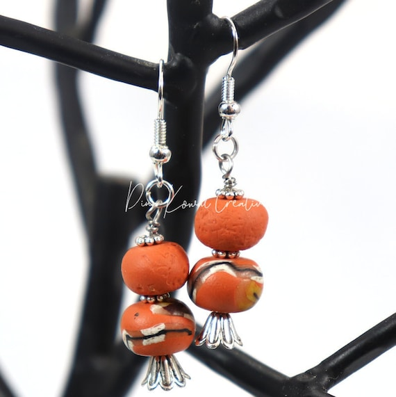 Polymer Clay Bead Earrings - Persimmon Drop