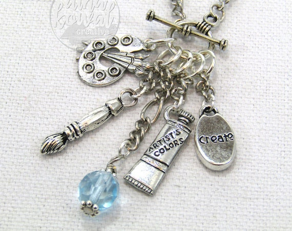 Charm Necklace - Watercolor Paint Painter Artist Palette