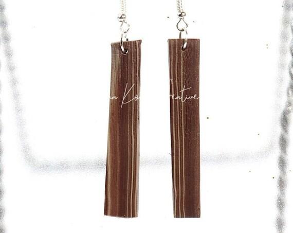 Polymer Clay Bead Earrings - Faux Wood Dangle