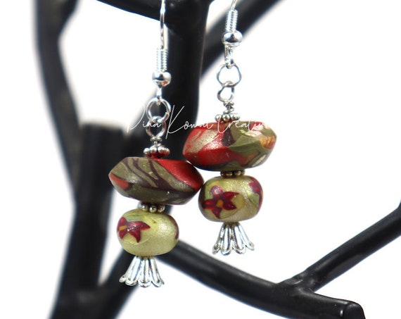 Polymer Clay Bead Earrings - Poinsettia Drop