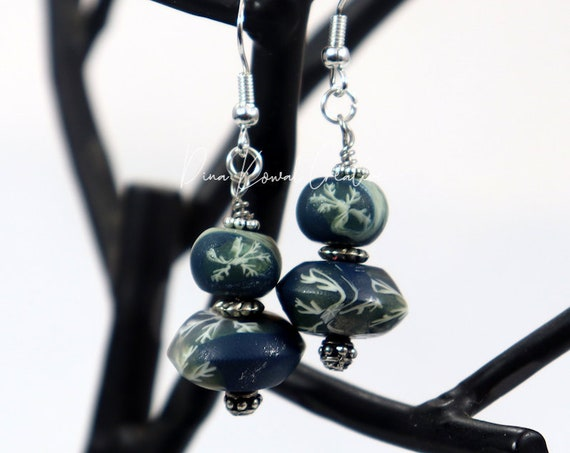 Polymer Clay Bead Earrings - Midnight Snow Drop