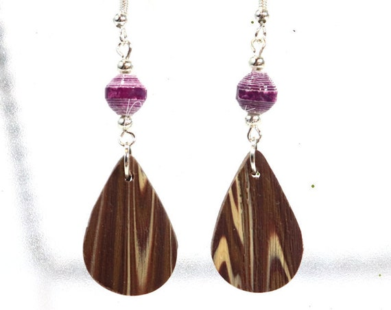 Paper and Polymer Clay Bead Earrings - Faux Wood Dangle