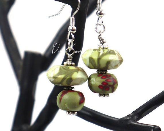 Polymer Clay Bead Earrings - Mistletoe Drop