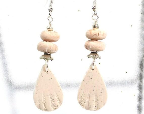 Polymer Clay Bead Earrings - Faux Shell Dangle