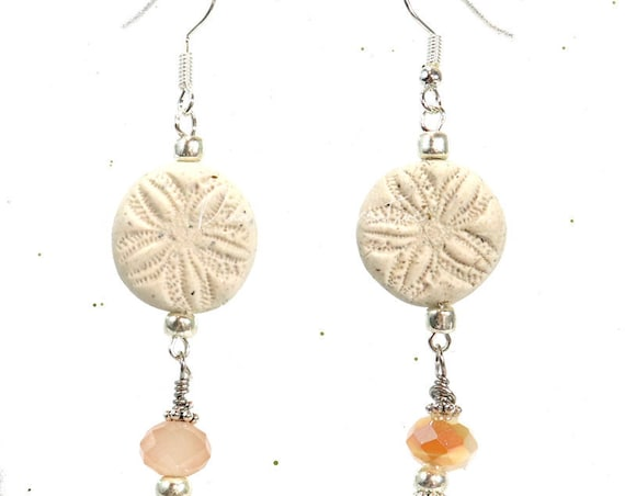 Polymer Clay Bead Earrings - Faux Sand Dollar Dangle