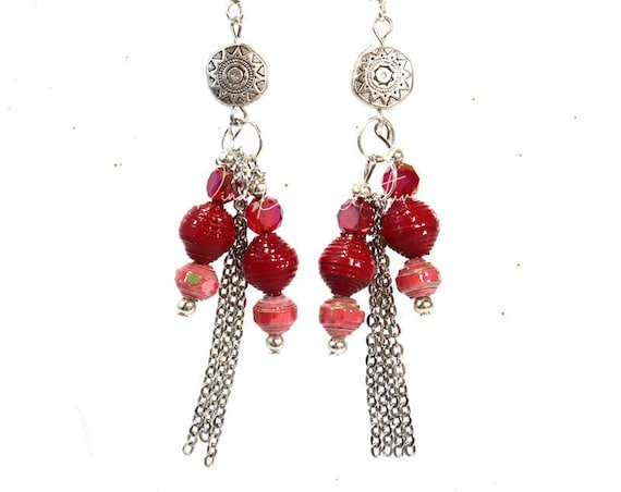 Paper Bead Earrings - Red Bead Tassel