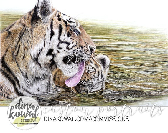 Aww, Mom! - colored pencil print of tiger mother and cub