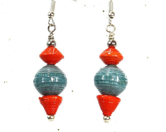 Paper Bead Earrings - Orange and Beach Blue Drop