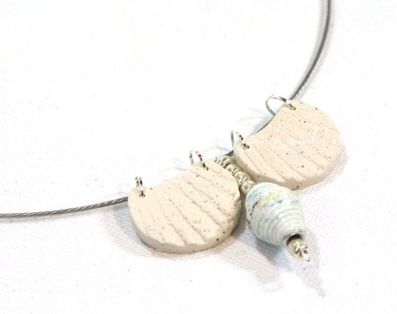 Memory Wire Choker - Faux Shell Beach Paper and Polymer Clay Beads