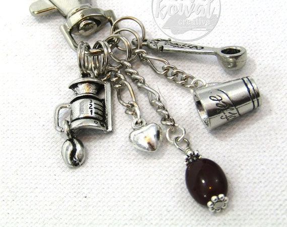 Coffee Maker Purse Charm Zipper Pull Zipper Pull Keychain
