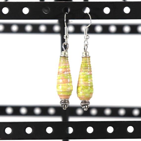 Paper Bead Earrings - Spring Pastel Teardrop