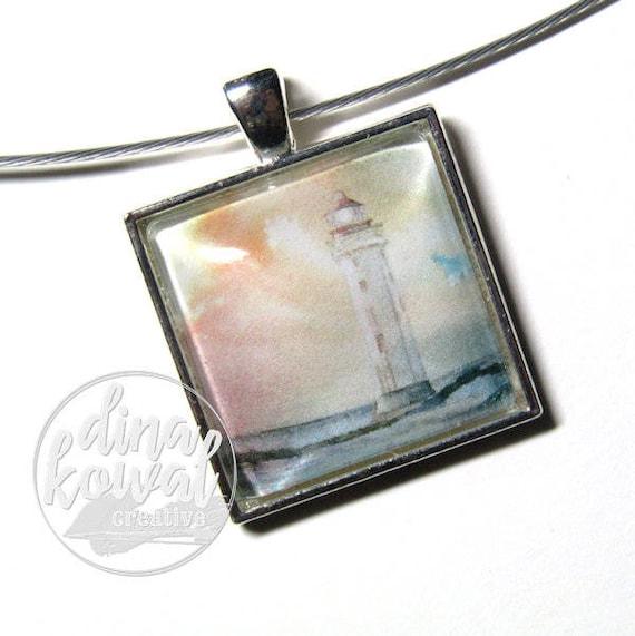 Lighthouse sunset - domed glass tile pendant necklace