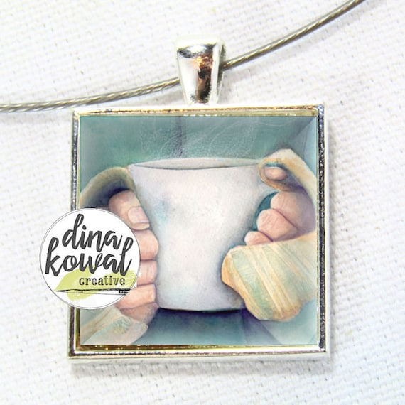 Morning Coffee - sweater weather - domed glass tile pendant necklace