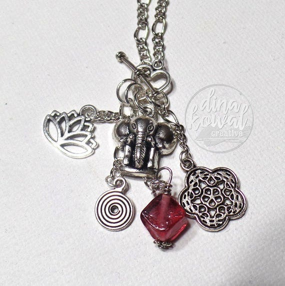 LAST ONE! Charm Necklace - Elephant - Lotus - Mandala